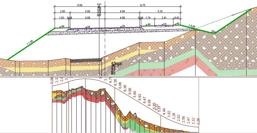 Рис. 10. Ділянка поздовжнього і поперечного профілю з геологією