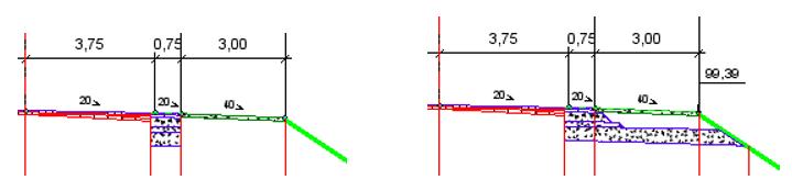 Рис. 14. Приклад ремонту з розширенням в ровиках або зі зрізанням узбіч